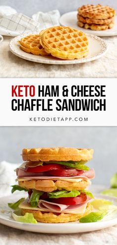Keto Ham & Cheese Chaffle Sandwich (low-carb, gluten-free, grain-free) Lunch Box Recipes, Low Carb Dinner Recipes, Keto Dinner, Pancakes And Waffles, Keto Pancakes, Chicken And Beef Recipe, Keto Diet Guide, Gluten Free Waffles, Diet Apps