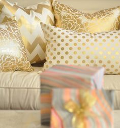 Gold polka dot, chevron and floral cushions - caitlin wilson design: style files__would go great with my turquoise bed quilt! Floral Cushions, Gold Cushions, Caitlin Wilson Design, Chevron, Gold Polka Dots, Interior Inspiration, Home Accessories, Living Room Decor, Sweet Home