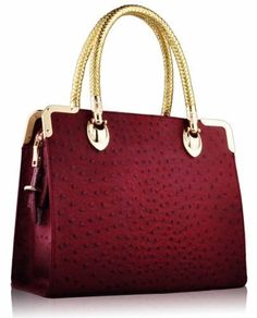 KCMODE Womens Ostrich Look Doctors Style Handbag Everyday Ladies Satchel Bag Burgundy Red KCMODE, To BUY or SEE just CLICK on AMAZON right here http://www.amazon.com/dp/B00HZOK7WK/ref=cm_sw_r_pi_dp_WW0stb13AXHXEFMR