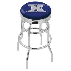 "Xavier Musketeers 30"" Chrome Double Ring Swivel Bar Stool with 2.5"" Ribbed Ring - $139.00"