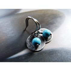 Howlite turquoise dandelion silver earrings, Sterling silver disc,... ❤ liked on Polyvore featuring jewelry, earrings, long silver earrings, sterling silver turquoise earrings, dangle earrings, hammered silver earrings and turquoise earrings