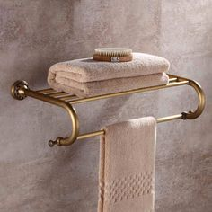 Wholesale And Retail Wall Mount Antique Bathroom Bath Towel Rack Brass Storage Holder Shelf Towel Bar Bath Towel Racks, Bath Towels, Brass Bathroom Fixtures, Business Stationary, Bathroom Bath, Wall Mount, Interior Decorating, Hardware, House Design