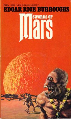 Phobos appeared in the eighth book in the series, Swords of Mars, where it's called Thuria by the inhabitants of Mars. It's about 15,700 Haads from Mars to Phobos, and it takes round about five Zodes to get there, just in case you were wondering. Here's Bruce Pennington's cover for the New English Library edition of 1972 showing one of the inhabitants of Phobos.