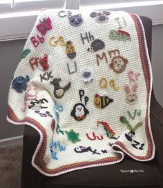Animal Alphabet Afghan!! : FREE crochet pattern! Since it has so many parts, the patterns and tutorials have been written up in different blog posts. Each animal appliqué has it's own pattern post (all 26 of them). …
