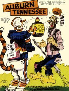 1964 Auburn Tigers vs Tennessee Volunteers 36 x 48 Framed Canvas Historic Football Poster Football War, Tennessee Football, College Football Teams, Football Memes, University Of Tennessee, Football Program, Auburn University, Auburn Football Quotes, Tennessee Knoxville