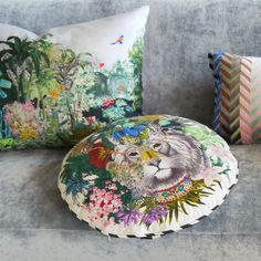 Add tropical elegance to the home with this Jungle King cushion from Christian Lacroix. Digitally printed onto soft cotton, it features a King of the Jungle lion design surrounded by tropical foliage.