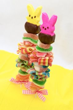 Chocolate dipped Peeps are the perfect topper for our yummy, Easter Sweet Skewers. Each one is handmade fresh to order and is packed with assorted flavored gummy and sour candies. They come individually wrapped, tied with coordinating ribbon and are ready to gift. Add them to an Easter basket for something unique and fun!