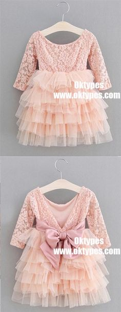 A-Line Round Neck Pleated Pink Tulle Flower Girl Dress with Flowers, TYP0970 #flowergirl #flowergirldresses