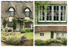 Exteriors and Landscaping / English Cottages in Grantchester on Wookmark Cosy Living, Cottage Living, Vintage Tea Parties, Open Water Swimming, Thatched Roof, Shabby Chic Pink, English Cottages, Little Houses, Exterior Design