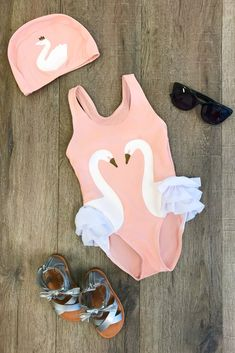 PEACH/WHITE Swan Swimsuit Set