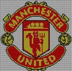 Manchester United, Manchester Logo, Beading Patterns, Knitting Patterns, Cross Stitch Designs, Cross Stitch Patterns, Pinterest Cross Stitch, Rhinestone Crafts, Football