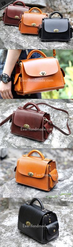 Handmade vintage satchel leather normal messenger bag orange