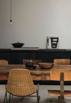 """Here is a selection of my favorite dining rooms lately. I am loving the neutral, wood and natural materials and the strong """"presence"""" all these dining spaces ha:"""