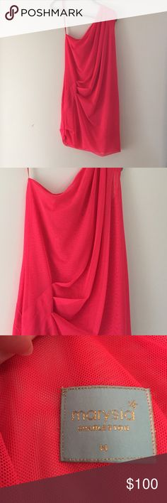 Marysia swim cover up EUC Marysia swim cover up. Beautiful coral color with pick ups and one shoulder. Marysia Swim Coverups