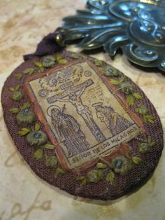 Lord of Miracles Vintage Scapular and Sacred Heart Ex Voto Milagro. $139.00, via Etsy.