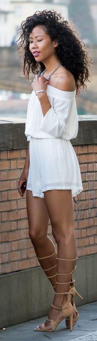 Blasiangurl White Off Shoulder Romper Outfit Idea