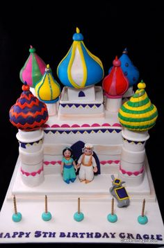 Jasmine and Aladdin Castle Cake Castle Birthday Cakes, Birthday Cake For Him, Castle Cakes, Aladdin Cake, Aladdin Party, Easy Birthday Desserts, Party Desserts, Birthday Parties, Religious Cakes