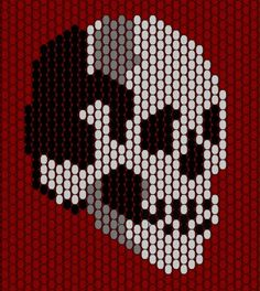 skull peyote pattern - another kathy pattern Beading Patterns Free, Bead Loom Patterns, Peyote Patterns, Beading Tutorials, Bracelet Patterns, Seed Bead Crafts, Perler Beads, Fuse Beads, Seed Beads