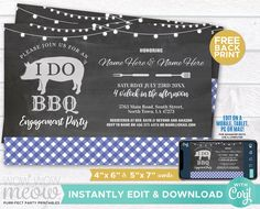 I Do BBQ Invitation Couple's Shower Printable Invite Engagement Party INSTANT DOWNLOAD Check Lights Blue Plain Chalk Pig Editable WIDB_026 Printing Websites, Printing Services, Online Printing, Printable Invitations, Printables, I Do Bbq, Engagement Invitations, Couple Shower, Photo Logo