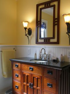 11 Elegant Initiatives of How to Make Craftsman Bathroom Vanity Woman Always like to perform making-up in order to acquire the beautiful appearance in every state. In this matter, they will require Craftsman Bathro. Craftsman Mirrors, Craftsman Style Bathrooms, Craftsman Bungalows, Bungalow Bathroom, Craftsman Bathroom Faucets, Craftsman Lighting, Craftsman Kitchen, Mission Furniture, Craftsman Furniture