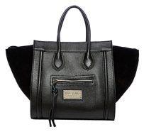 Mario Valentino Shopper Winged Tote in Black Suede Handbags e8aa00bb920ea