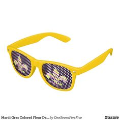 Mardi Gras Colored Fleur De Lis Novelty Glasses Celebrate Mardi Gras in style with these fun and colorful Mardi Gras sunglasses. Fleur de lis printed shades are perfect for Fat Tuesday and partying the night away on Bourbon Street! Louisiana novelty sunglasses feature a fleur-de-lis print on the lenses and can be ordered in a choice of several colors of frames. Design is available on many other products and apparel for men, women, and children.
