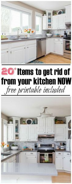 The 30 Minute Kitchen Decluttering Challenge - 20 things to declutter NOW! Free printable included.
