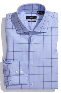 Hugo boss dress shirt can be a Power Closer with the right tie. Its important you understand what is a business and/or causal to power closer shirt. Dress Shirt And Tie, Fitted Dress Shirts, Suit And Tie, Business Shirts, Business Outfit, Sharp Dressed Man, Well Dressed Men, Mens Attire, Mens Suits