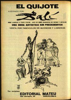 El Quijote ilustrado por Dalí - Destino. Año 1965, No. 1439-1442 (Marzo) :: Destino Caballero Andante, Dom Quixote, Great Novels, Dali, Bibliophile, Books, Movies, Museum, Stains