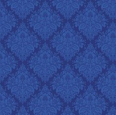 Cotton Quilt Fabric Winter Rhapsody Patience Persian Blue Damask - product image
