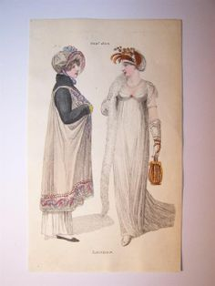 PHILLIPS LADIES FASHION TWO LONDON DRESSES Published February 1806 a promenade and full dress