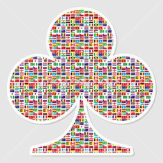 Trébol de póquer formado con banderas del mundo.