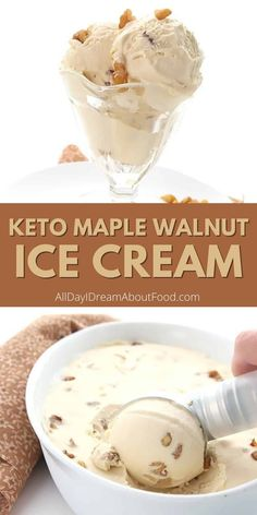 Maple Ice Cream Recipe, Maple Walnut Ice Cream, Keto Ice Cream, Healthy Ice Cream, Homemade Ice Cream, Low Carb Sweets, Low Carb Desserts, Frozen Desserts, Healthy Dessert Recipes