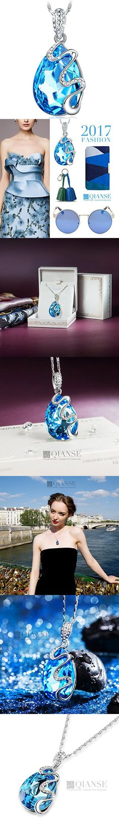 QIANSE Venice Dream Pendant Necklace Made with Teardrop Ocean Blue Swarovski Crystals, Jewelry for Women, birthday gifts for her