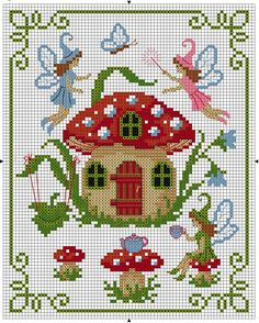 Crafts: designs with mushrooms for embroidery . - Handicrafts: mushroom cross stitch patterns with embroidery designs - Cross Stitch Fairy, Cross Stitch House, Cross Stitch Charts, Cross Stitch Designs, Cross Stitch Patterns, Cross Stitching, Cross Stitch Embroidery, Embroidery Patterns, Kids Patterns