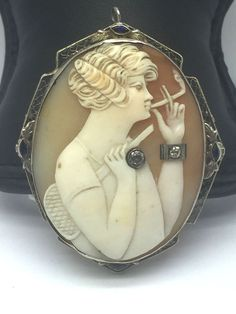 RARE SMOKING 1920's Antique 14k Gold Diamond Sapphire Cameo Brooch Pin Pendant  #Handmade