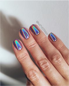Simple Holographic Nail Designs That You Have to Try - Fashion - Nails - Cute Nails, Pretty Nails, Hair And Nails, My Nails, Gel Nagel Design, Gel Nail Colors, Holographic Nails, Holographic Powder, Nagel Gel