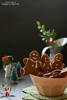 GINGERBREAD CUTOUT COOKIES. An easy recipe for #gingerbread #cutout #cookies that do not spread and are fun to decorate with simple #icing. #happyandharried #christmas #holiday #recipe #dessert
