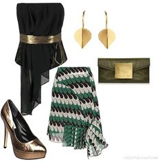 Gold & Green chic style | Women's Outfit | Green, gold and brown colours! The ruffles in the top echoes in the skirt too!!! great look for a function or ladies night out!