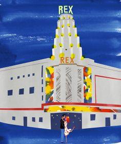 #illustration #art #print #Paris Rex Theatre Paris, illustration for book Why LA? Pourquoi Paris? You can also purchase prints at https://www.etsy.com/shop/whyLApourquoiParis?ref=si_shop   © nicklu