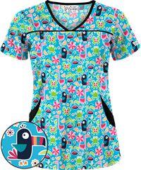 c97cdb00d2f UA Jungle Dance Turquoise Princess Seam Print Scrub Top