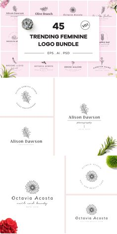 Introducing new hand drawn logo bundle Trending Feminine Logo Bundle V01 to different types of professionals for their personal or commercial branding. #AffiliateLink