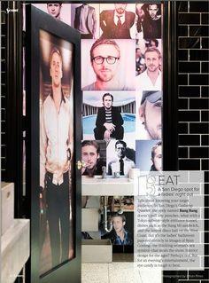 ryan gosling wallpapered restroom