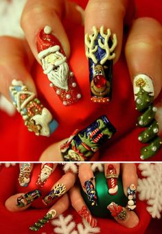 Adorable Christmas nails!!! WHOA! Cool!