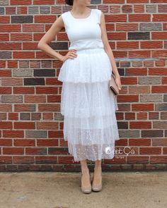 Crystal  Bridal Tulle Skirt Maxi White Tulle Skirt by CestCaNY