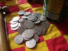 Alpha Officium - SCA Merchant who will make custom coins. There have been ongoing lawsuits with a individual over minting coins for SCA specific use. Avoid doing this as currency, as a token, great. Fun Crafts, Diy And Crafts, Medieval Games, Custom Coins, Renaissance, I Love Games, Design Crafts, 3d Design, Coins For Sale