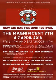 Annual North Leeds Charity Beer Festival 3 & 4 April 2020 organised and run by The Rotary Club of Roundhay at North Leeds Cricket Club Gin Bar, Event Guide, Rotary Club, Beer Festival, Buy Tickets, Leeds, Cricket, Charity, Flyer Design
