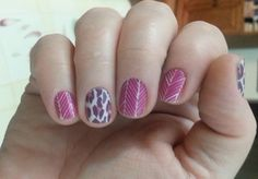Spearhead and Flirty Leopard #jamberry #manicure #easy #nails #nailart #combination #herringbone #animal #print #purple #pink