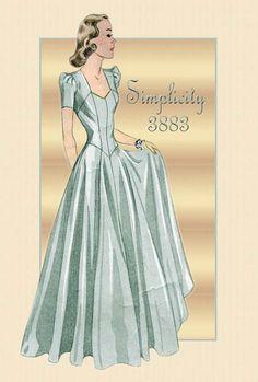 Vintage 1940s Pattern Simplicity 3883- Elegant evening dress.