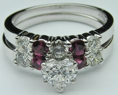 Heart Diamond Engagement Ring Ruby gem stones accents & Matching Wedding Ring